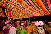 The annual Lotus Lantern Festival is held to celebrate Buddha's Birthday. Lanterns at Jogyesa temple. Dancers with lotus flower hats.