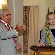 Honorabe Governor Tongiola Tulafono introduces US Secretary of State Hillary Clinton to the the media of American Samoa.  Photo by Barry Markowitz, 11/7/10 11:45pm