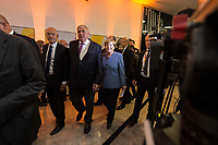 24 SEP 2017, BERLIN/GERMANY:<br /> Angela Merkel, CDU, Bundeskanzlerin, auf dem Weg zur Buehne, Wahlparty in der Wahlnacht, Bundestagswahl 2017, Konrad-Adenauer-Haus, CDU Bundesgeschaeftsstelle<br /> IMAGE: 20170924-01-004<br /> KEYWORDS: Election Party, Election Night