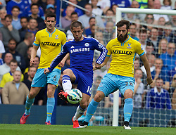 LONDON, ENGLAND - Sunday, May 3, 2015: Chelsea's Eden Hazard in action against Crystal Palace's Joe Ledley during the Premier League match at Stamford Bridge. (Pic by David Rawcliffe/Propaganda)