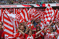 Football - 2017 / 2018 FA Cup - Semi Final: Chelsea vs. Southampton<br /> <br /> Southampton fans welcome there team onto the pitch at Wembley Stadium <br /> <br /> COLORSPORT/SHAUN BOGGUST