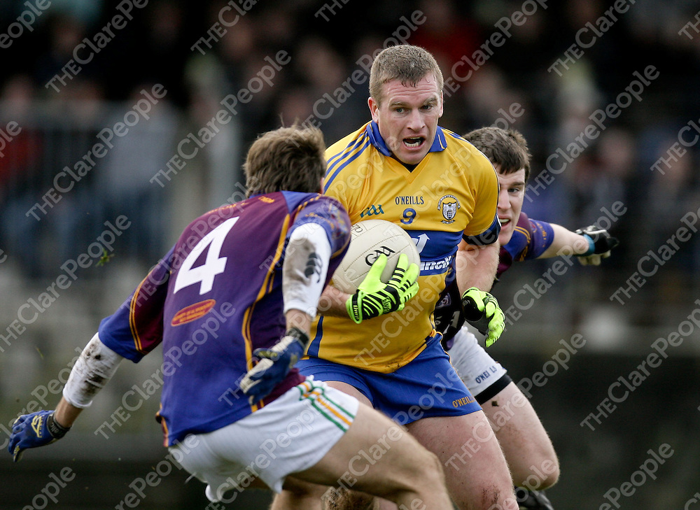 08.01.12<br /> McGrath Cup Football 2012, Clare verses UL, Doonbeg Co. Clare. Clare's Ger Quinlan in action against Ul's Padraic O'Connor and Donagh O'Sullivan. Pic Alan Place Press 22.