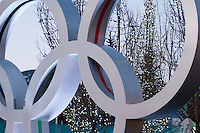 The Olympic Rings glow in the twilight during the 2010 Olympic Winter Games in Whistler, BC