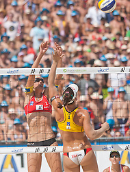 03.08.2013, Klagenfurt, Strandbad, AUT, A1 Beachvolleyball EM 2013, Finale Damen, Spiel 72, im Bild Stefanie Schwaiger 1 AUT, Liliana FERNÁNDEZ STEINER 1 ESP// during Gold Medal Match match 72 of the A1 Beachvolleyball European Championship at the Strandbad Klagenfurt, Austria on 2013/08/03. EXPA Pictures © 2013, EXPA Pictures © 2013, PhotoCredit: EXPA/ Mag. Gert Steinthaler