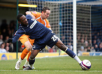 Coca cola League One. Southend Utd v Luton. 08.03.08<br />Pic by Karl Winter Fotosports International<br />Southend's James Walker battles with Luton's David Bell