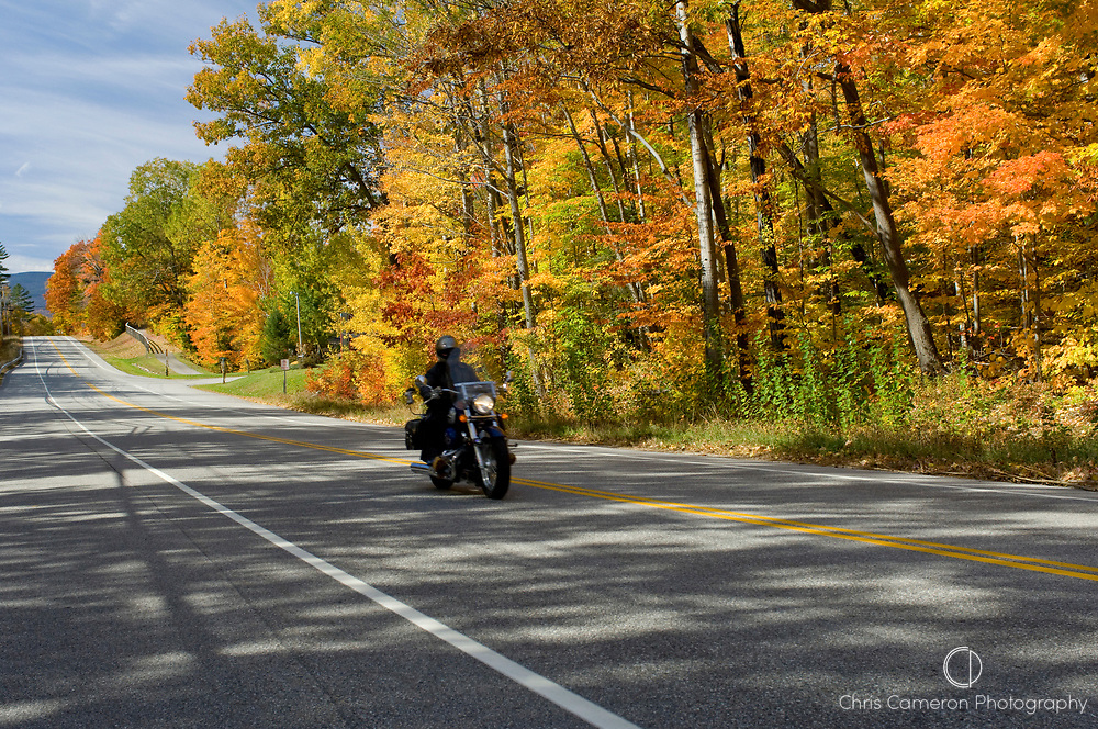 Motorcyclists riding Harley Davidson motor cycles along the Kancamagus Highway tour the White Mountain National Forest in New Hampshire, USA during the fall