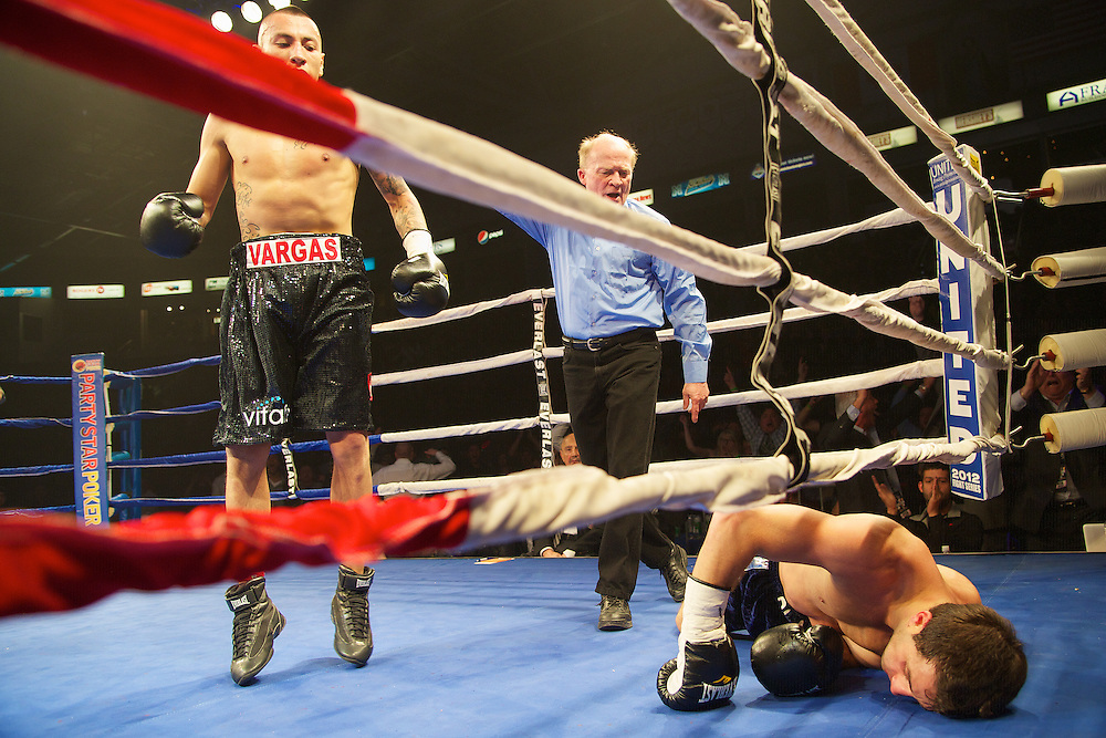 Boxing at the Hershey Centre  Samuel Vargas of Mississauga, Ontario won the vacant NCC Canadian Welterweight Championship knocking out the reining Canadian Junior Welterweight champion Manolis Plaitis