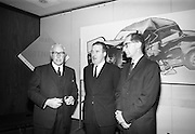 Road Safety Fortnight..1964..18.12.1964..12.18.1964..18th December 1964..After a fortnight of publicity and campaigning for better road safety, the Minister for Local Government, Mr Neil Blaney TD, met with road safety officials to review the results of the campaign. The press conference was held at the Intercontinental Hotel, Dublin...At the press conference, image shows, (L-R),Mr William Lemass, Secretary, Society of Irish Motor Traders; Minister Neil Blaney TD and Mr E Sheehy, Principal Officer, Road Traffic Section ,Dept of Local Government.