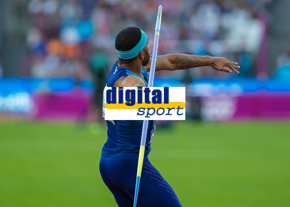 Athletics - 2017 IAAF London World Athletics Championships - Day Nine, Evening Session<br /> <br /> Mens Decathlon - Javelin<br /> <br /> Devon Williams (United States)  launches the javelin at the London Stadium<br /> <br /> COLORSPORT/DANIEL BEARHAM