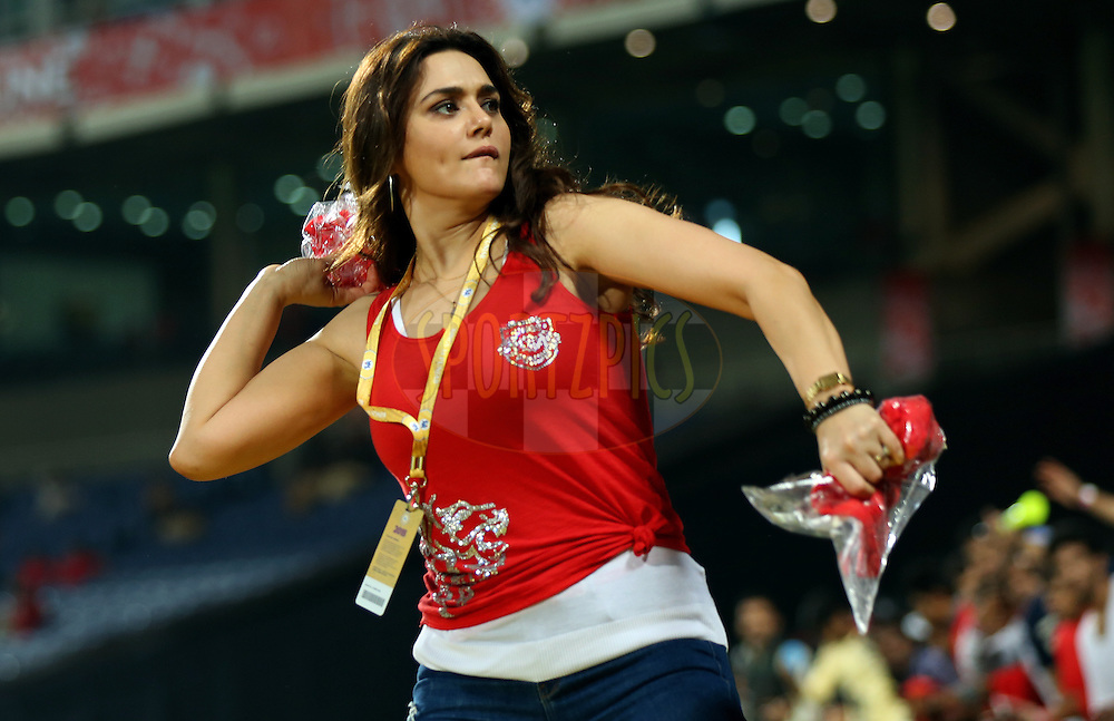 Preity Zinta owner of Kings XI Punjab during match 3 of the Pepsi IPL 2015 (Indian Premier League) between The Kings XI Punjab and The Rajasthan Royals held at the M.C.A. International stadium, Pune, India on the 10th April 2015.<br /> <br /> Photo by:  Sandeep Shetty / SPORTZPICS / IPL