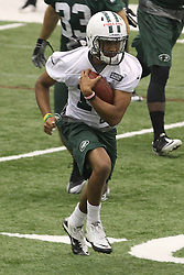 June 12, 2012; Florham Park, NJ, USA; New York Jets wide receiver Royce Pollard (18) during New York Jets Minicamp at the Atlantic Health Training Center.