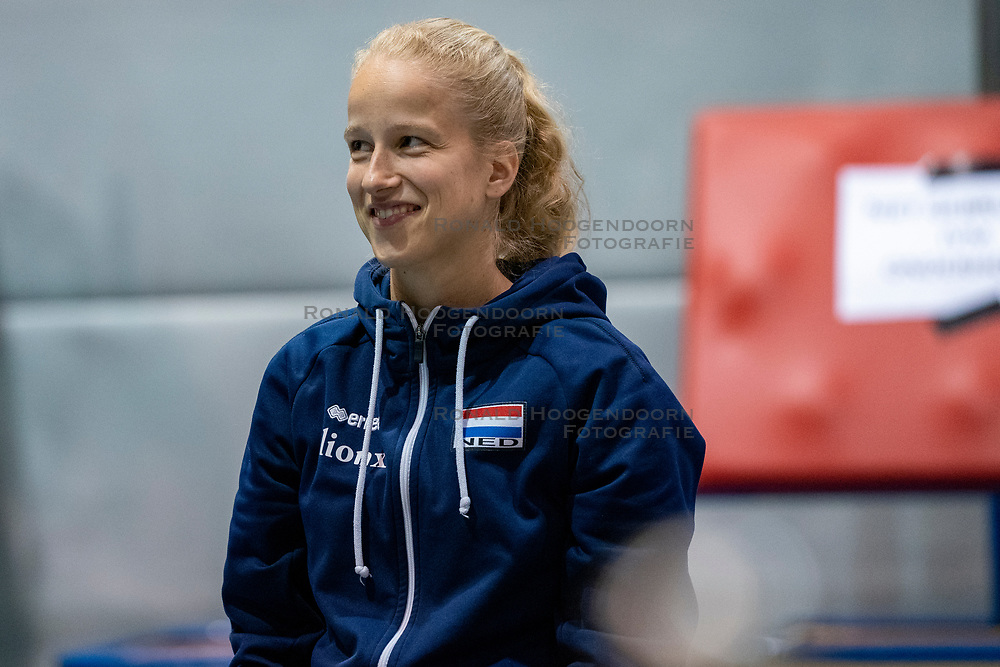 07-05-2019 NED: Press moment national volleyball team Men, Arnhem<br /> Roberto Piazza, the new national coach of the Dutch men's team, gives an overview of the group matches of the Golden European League, the OKT and the European Championship played in their own country. Rianne Verhoek