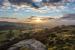 © Licensed to London News Pictures. 31/03/2016. Baildon UK. Picture shows this morning's sunrise on Baildon Moor in Yorkshire. Photo credit: Andrew McCaren/LNP