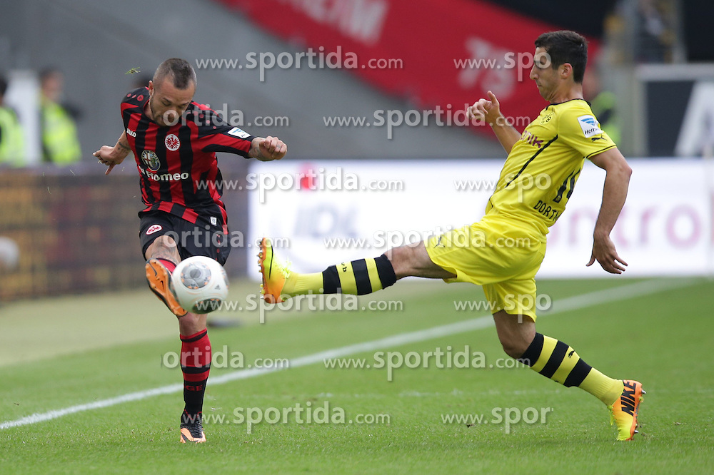 01.09.2013, Commerzbank Arena, Frankfurt, GER, 1. FBL, Eintracht Frankfurt vs Borussia Dortmund, 4. Runde, im Bild, , Stephan Schroeck (Eintracht Frankfurt - 17) - Henrikh Mkhitaryan (BVB Borussia Dortmund - 10) // during the German Bundesliga 4th round match between Eintracht Frankfurt and Borussia Dortmund at the Commerzbank Arena, Frankfurt, Germany on 2013/09/01. EXPA Pictures © 2013, PhotoCredit: EXPA/ Eibner/ Gerry Schmit<br /> <br /> ***** ATTENTION - OUT OF GER *****