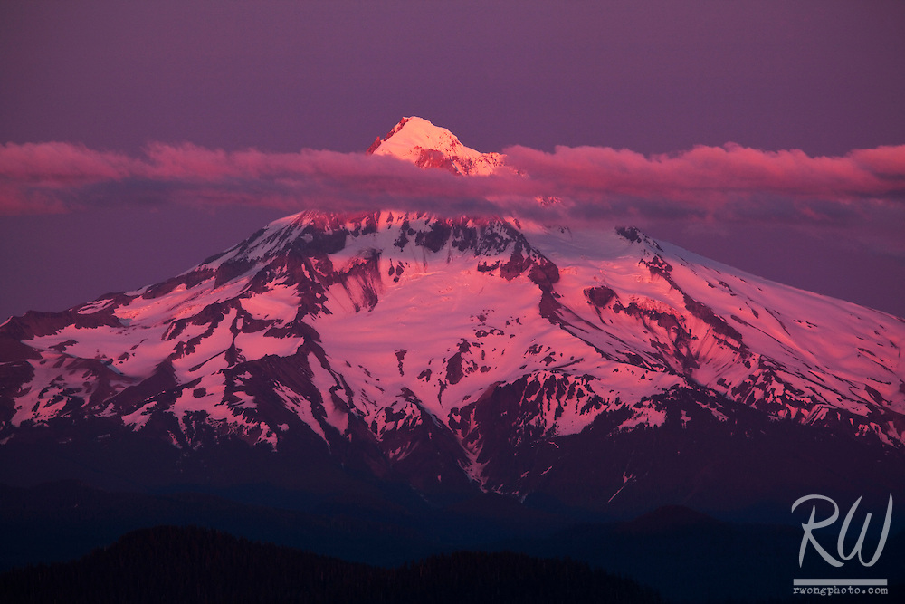 Mount Hood Sunset Alpenglow, Mount Hood National Forest, Oregon