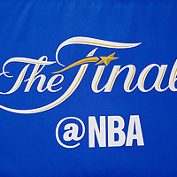 01 June 2017: Close view of the NBA Finals logo during the Golden State Warriors 113-90 victory over the Cleveland Cavaliers, in game 1 of the 2017 NBA Finals, at the Oracle Arena, Oakland, California, USA.