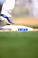 19 July 2009: Shoes and third base bag of centerfielder Matt Kemp #27 scored the only four runs of the game for his team during the MLB Los Angeles Dodgers 4-3 win over the Houston Astros on a warm summer day in LA at Chavez Ravine during a National League Professional Baseball game.