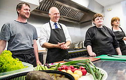 Pictured: Mr FitzPatrick was joined at the preparation table by volunteers David Keogh, Centre manager Lynne Nimmo, Volunteer Donna McArdle and kitchen helper Liz Agostino<br /> <br /> New Public Health Minister Joe FitzPatrick visited Bridgend Inspiring Growth centre, Bridgend Farmhouse in Edinburgh to launch the Scottish Government's diet and healthy weight delivery plan. <br /> <br /> Mr FitzPartick joined volunteers to prepare some salad for today's lunch.<br /> <br /> Ger Harley | EEm Date