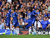Football - 2019 / 2020 Premier League - Chelsea vs. Sheffield United<br /> <br /> Chelsea's Tammy Abraham celebrates scoring the opening goal, at Stamford Bridge.<br /> <br /> COLORSPORT/ASHLEY WESTERN