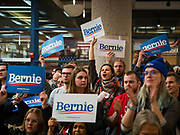 20 JANUARY 2020 - DES MOINES, IOWA: People cheer for Senator Bernie Sanders (Ind-VT) as he finishes speaking at a campaign rally in the State Historical Museum of Iowa in Des Moines. Sen. Sanders is in Iowa campaigning to be the Democratic presidential nominee in 2020. Iowa hosts the first selection event of the presidential election cycle. The Iowa Caucuses are Feb. 3, 2020.         PHOTO BY JACK KURTZ