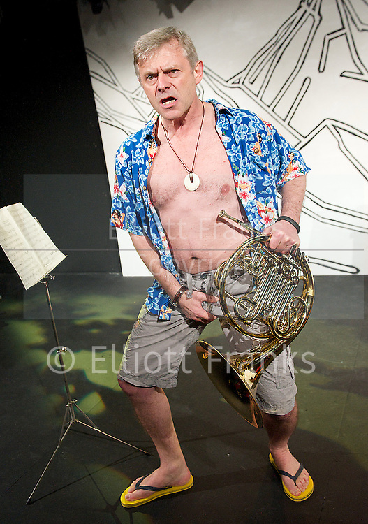 I Found My Horn <br /> by Jasper Rees and Jonathan Guy Lewis <br /> at the Trafalgar Studios, London, Great Britain. Press photocall. 2nd April 2014. directed by Harry Burton. Jonathan Guy Lewis as Jasper.
