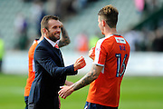 Luton Town manager Nathan Jones celebrates his teams 3-0 win with Luton Town defender Glen Rea (16) during the EFL Sky Bet League 2 match between Plymouth Argyle and Luton Town at Home Park, Plymouth, England on 6 August 2016. Photo by Graham Hunt.