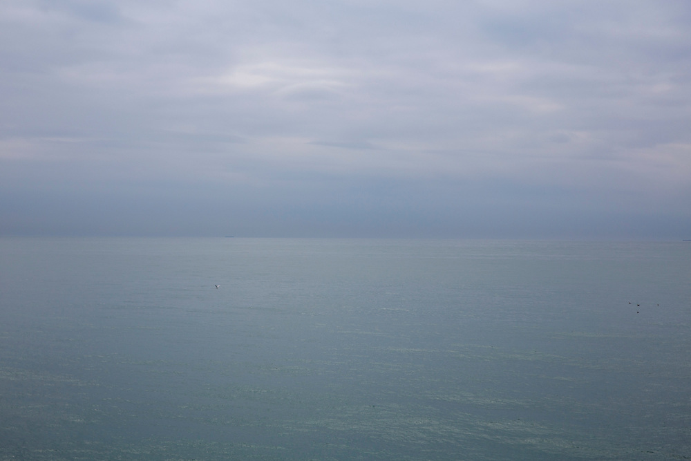 Misty clouds fill the sky up to the horizon with the dark English Channel from Folkestone, Kent, England, United Kingdom.  (photo by Andrew Aitchison / In pictures via Getty Images)