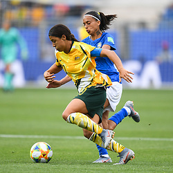 Sam Kerr of Austalia and Andressa of Brazil during the Women's World Cup match between Australia and Brazil at Stade de la Mosson on June 13, 2019 in Montpellier, France. (Photo by Alexandre Dimou/Icon Sport)