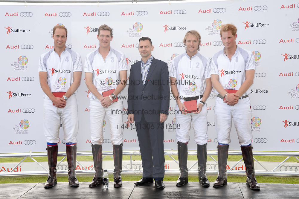 Left to right, HRH THE DUKE OF CAMBRIDGE, LUKE TOMLINSON, MARTIN SANDER, MARK TOMLINSON and HRH PRINCE HARRY OF WALES  at the Audi Polo Challenge 2013 at Coworth Park Polo Club, Berkshire on 3rd August 2013.