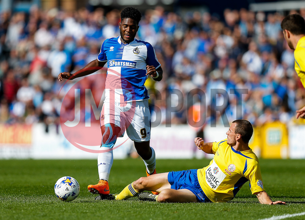 Ellis Harrison of Bristol Rovers is challenged by Dean Winnard of Accrington Stanley - Mandatory byline: Rogan Thomson/JMP - 07966 386802 - 12/09/2015 - FOOTBALL - Memorial Stadium - Bristol, England - Bristol Rovers v Accrington Stanley - Sky Bet League 2.