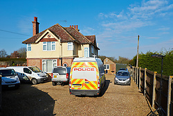 © Licensed to London News Pictures.  15/01/2013. AYLESBURY, UK. Police officers search the home and garden belonging to Patricia Goodband, 76, near Aylesbury, Buckinghamshire. She was last seen on Monday 17 December and reported missing by a relative on Wednesday 9 January. Thames Valley Police have arrested two men, aged 63 and 59, on suspicion of murder, conspiracy to pervert the course of justice and of concealing a body. Both remain in custody. However, TVP continue to treat the investigation as a missing person inquiry. Photo credit :  Cliff Hide/LNP