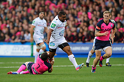 Toulon Flanker (#7) Steffon Armitage is tackled by Cardiff Blues Flanker (#7) Sam Warburton during the first half of the match - Photo mandatory by-line: Rogan Thomson/JMP - Tel: 07966 386802 - 19/10/2013 - SPORT - RUGBY UNION - Cardiff Arms Park, Wales - Cardiff Blues v Toulon - Heineken Cup Round 2.