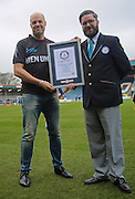 Ed Wood presented with Guiness  World Record for breaking 93 club record - all clubs in 189 days - prostate cancer during the EFL Sky Bet League 1 match between Rochdale and Charlton Athletic at Spotland, Rochdale, England on 18 February 2017. Photo by Daniel Youngs.