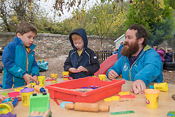 Scottish Children's minister Maree Todd visited Highland Fling nursery in Portobello and met with some male practitioners on a day when more funding was announced to encourage men into childcare jobs. Robbie Smith with some of the kids © Jon Davey/ EEm
