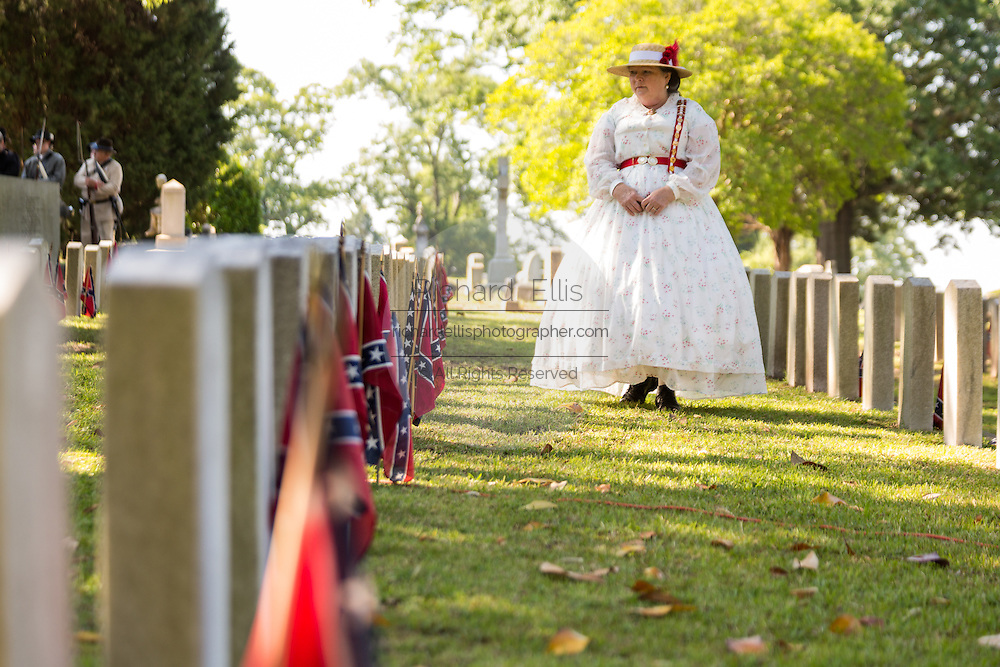 A Civil war re-enactor in period costume during a service at Elmwood Cemetery to mark Confederate Memorial Day May 2, 2015 in Columbia, SC. Confederate Memorial Day is a official state holiday in South Carolina and honors those that served during the Civil War.