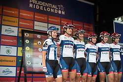 Lotta Lepistö (FIN) and the whole Cervélo-Bigla Cycling Team team lines up on the sign on podium before the start of the Prudential RideLondon Classique, a 66 km road race in London on July 30, 2016 in the United Kingdom.