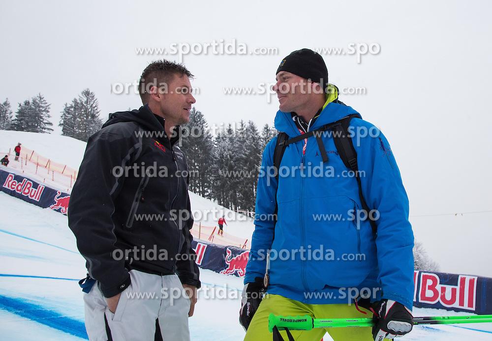 25.01.2013, Streif, Kitzbuehel, AUT, FIS Weltcup Ski Alpin, Super G, Herren, im Bild Extremsportler Felix Baumgartner und der ehemalige Skirennlaeufer Michael Walchhofer (AUT) // Base Jumper Felix Baumgartner and former Ski racer Michael Walchhofer of Austria in action during mens SuperG of the FIS Ski Alpine World Cup at the Streif course, Kitzbuehel, Austria on 2013/01/25. EXPA Pictures © 2013, PhotoCredit: EXPA/ Johann Groder