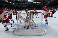 KAMLOOPS, CANADA - NOVEMBER 5:  Daniil Tarasov #30 of Team Russia makes a first period save against the Team WHL on November 5, 2018 at Sandman Centre in Kamloops, British Columbia, Canada.  (Photo by Marissa Baecker/Shoot the Breeze)