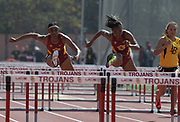 Mar 18, 2017; Los Angeles, CA, USA: Dior Hall (left) and Jasmyne Graham of Southern California place first and second in the women's 100m hurdles in 13.31 and 13.37 during the Trojan Invitational at Cromwell Field.