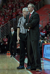 22 January 2014:  Tom Eades stands next to Head Coach Dan Muller during an NCAA Missouri Valley Conference mens basketball game between the Shockers of Wichita Stat and the Illinois State Redbirds  in Redbird Arena, Normal IL.