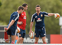 7 June 2013; Rob Kearney, British & Irish Lions, right, in the company of Jonathan Sexton and assistant coach Andy Farrell during the captain's run ahead of their game against Queensland Reds on Saturday. British & Irish Lions Tour 2013, Captain's Run, Anglican Church Grammar School, Oaklands Parade, East Brisbane, Queensland, Australia. Picture credit: Stephen McCarthy / SPORTSFILE