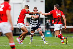 Bristol Rugby Flanker Nick Koster is tackled by London Welsh Number 8 Kieran Murphy and Winger Chris Elder - Mandatory byline: Rogan Thomson/JMP - 07966 386802 - 13/09/2015 - RUGBY UNION - Old Deer Park - Richmond, London, England - London Welsh v Bristol Rugby - Greene King IPA Championship.