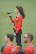 Katherine Farese sings the national anthem before Ole Miss vs. Lipscomb at Oxford-University Stadium in Oxford, Miss. on Sunday, March 10, 2013. Ole Miss won 9-8. The Rebels improve to 16-1.