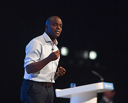 Conservative candidate to be London Mayor Shaun Bailey speaks at the Conservative Party conference in Manchester.<br /> <br /> © Dave Johnston / EEm
