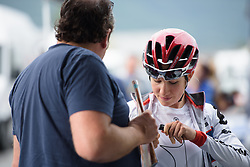 Clara Koppenburg prepares for La Course 2017 - a 67.5 km road race, from Briancon to Izoard on July 20, 2017, in Hautes-Alpes, France. (Photo by Sean Robinson/Velofocus.com)