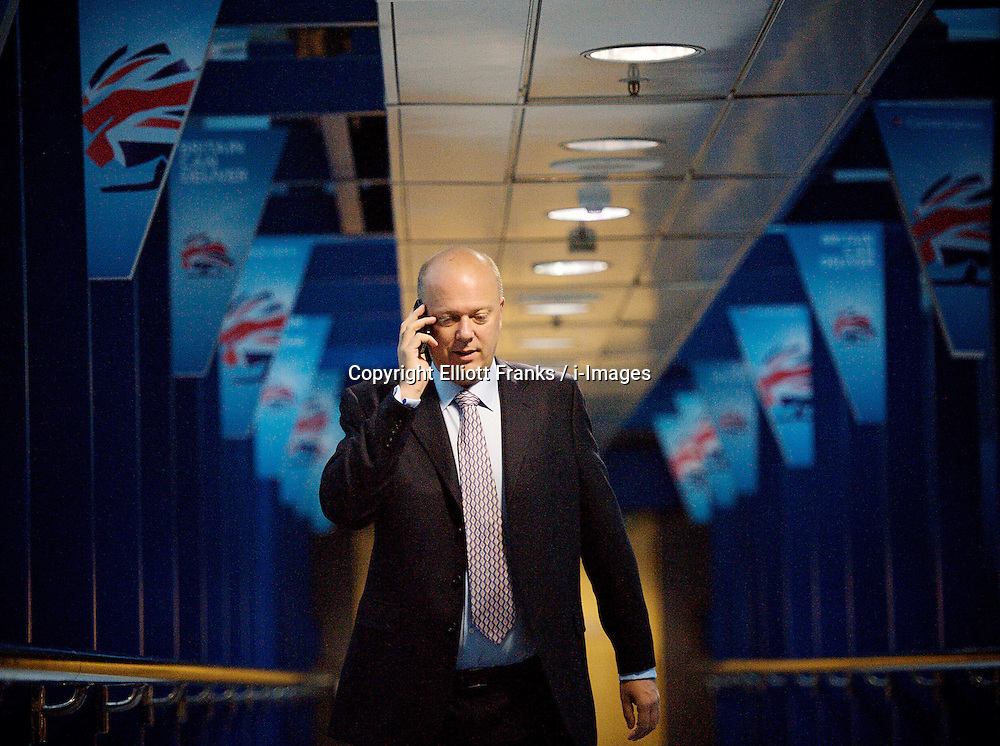 Rt Hon Chris Grayling MP, Justice Secretary, walking into the conference centre during the Conservative Party Conference, ICC, Birmingham, Great Britain, October 9, 2012. Photo by Elliott Franks / i-Images.