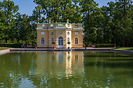 Photo of a lake house on the grounds of Catherine Palace in Pushkin, Russia, near St Petersburg.
