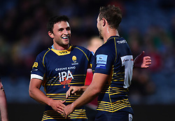 Ashley Beck of Worcester Warriors celebrates his try with Jonny Arr  of Worcester Warriors - Mandatory by-line: Alex James/JMP - 23/08/2018 - RUGBY - Sixways Stadium - Worcester, England - Worcester Warriors v Birmingham Moseley - Pre-season friendly