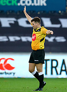 Referee Ben Whitehouse<br /> <br /> Photographer Simon King/Replay Images<br /> <br /> Guinness PRO14 Round 11 - Ospreys v Scarlets - Saturday 22nd December 2018 - Liberty Stadium - Swansea<br /> <br /> World Copyright © Replay Images . All rights reserved. info@replayimages.co.uk - http://replayimages.co.uk