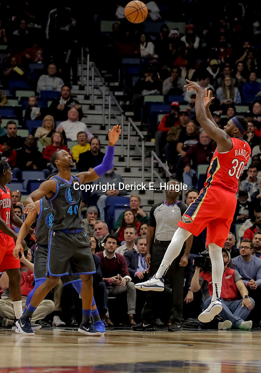 Dec 5, 2018; New Orleans, LA, USA; New Orleans Pelicans forward Julius Randle (30) shoots over Dallas Mavericks forward Harrison Barnes (40) during the second quarter at the Smoothie King Center. Mandatory Credit: Derick E. Hingle-USA TODAY Sports